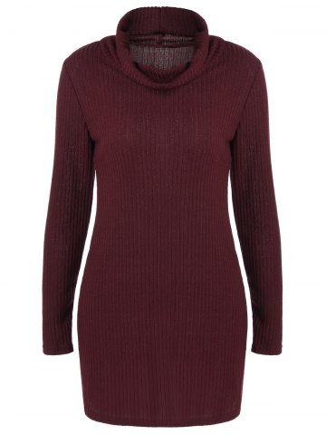 Outfit Ribbed Pullover Turtleneck Sweater WINE RED XL