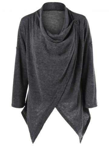 Asymmetrical Single Button Cardigan - Gray - L