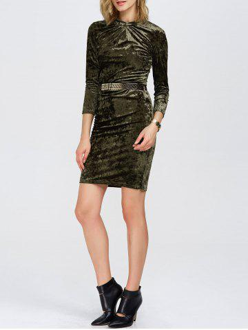 Best Slim Fit Ruched Velvet Tight Bodycon Dress OLIVE GREEN 2XL