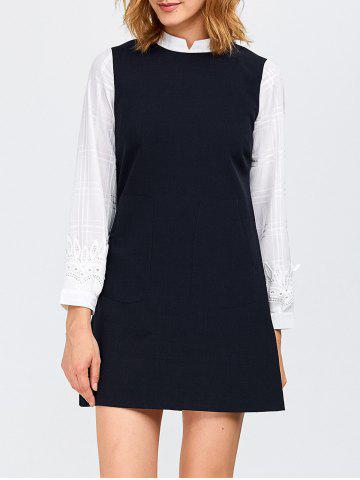 Insert Grid Crochet Shift Dress - Purplish Blue - M