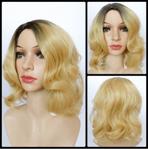 Affordable Shaggy Short Wavy Side Parting Color Mixed Synthetic Wig