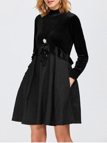 High Neck Ruffled Velvet Panel Swing Dress - Black - S