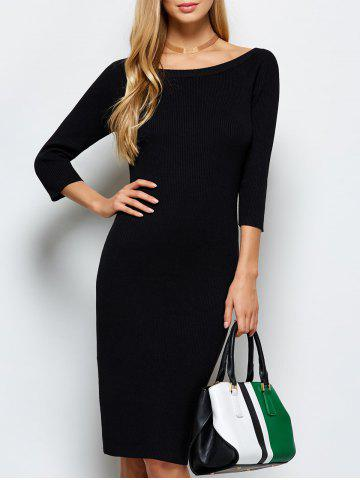 Online Scoop Neck Kneel Length Ribbed Knit Bodycon Dress