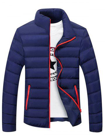 Chic Plus Size Stand Collar Color Block Zipper Down Jacket