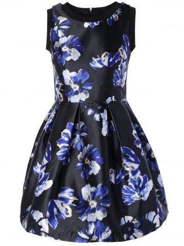 Store Sleeveless Floral Print Fit and Flare Dress