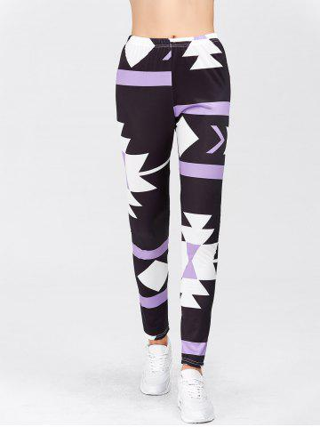 Fancy High Waisted Printed Leggings - XL PURPLE Mobile
