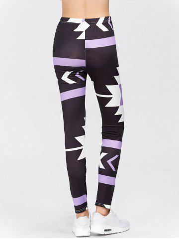 Chic High Waisted Printed Leggings - XL PURPLE Mobile