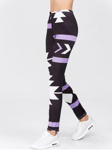 Shops High Waisted Printed Leggings - XL PURPLE Mobile