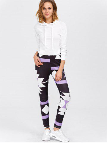Latest High Waisted Printed Leggings - XL PURPLE Mobile