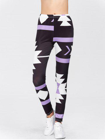 Store High Waisted Printed Leggings - XL PURPLE Mobile