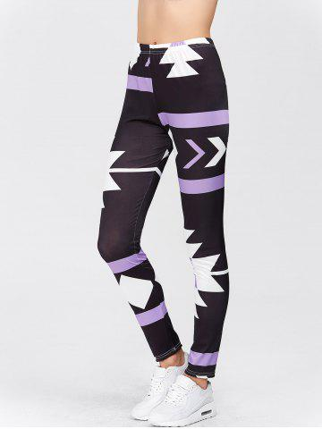 Outfit High Waisted Printed Leggings - XL PURPLE Mobile