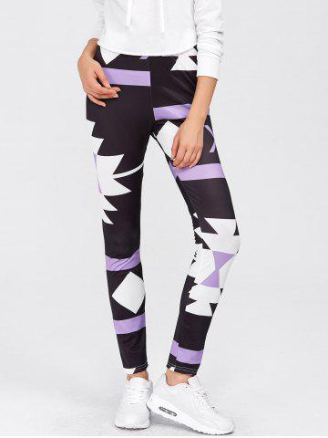 High Waisted Printed Leggings - Purple - Xl
