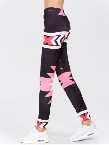 Hot High Waisted Printed Leggings - M RED Mobile