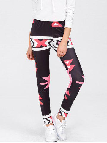 Latest High Waisted Printed Leggings - M RED Mobile