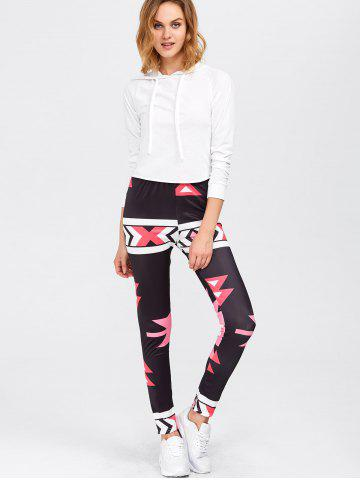 Sale High Waisted Printed Leggings - M RED Mobile