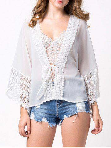 Trendy Lace Insert See Through Chiffon Blouse
