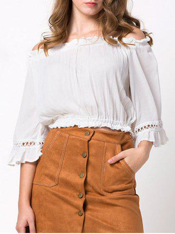New Pleated Cropped Off The Shoulder Blouse