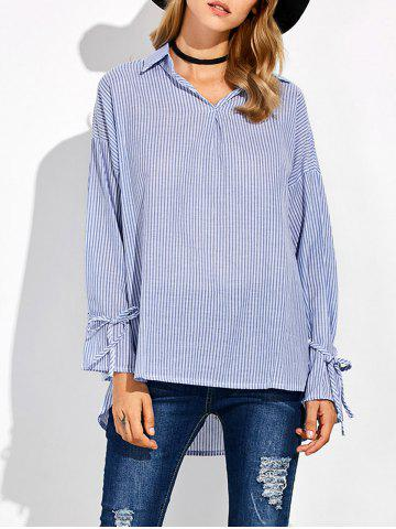 Outfits Striped High Low Pullover Shirt BLUE AND WHITE 5XL