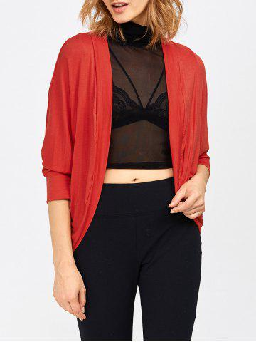 Affordable Open Front Dolman Sleeve Knit Short Cardigan RED 3XL