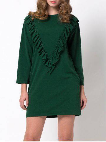 Latest Mini Casual Ruffle Tunic Dress GREEN 3XL