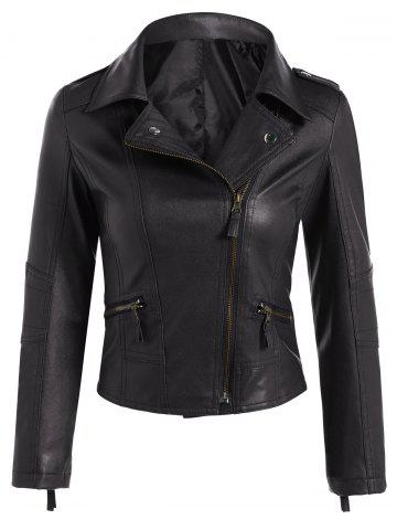 Outfits Faux Leather Asymmetric Zip Short Biker Jacket