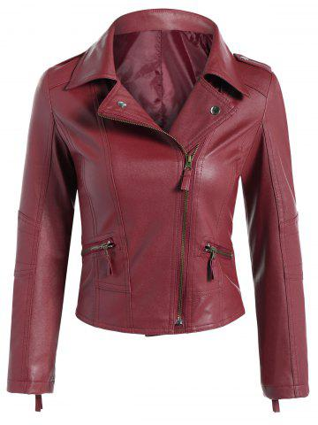 Online Faux Leather Asymmetric Zip Short Biker Jacket - M DARK RED Mobile