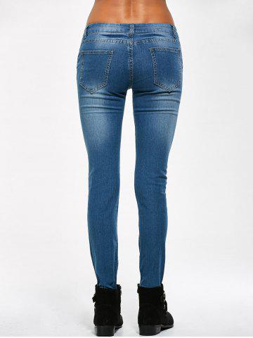 Online Low Rise Knee Ripped Jeans - M BLUE Mobile