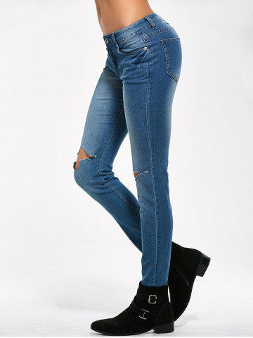 Outfit Low Rise Knee Ripped Jeans - M BLUE Mobile