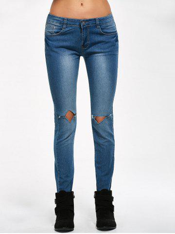 Best Low Rise Knee Ripped Jeans - M BLUE Mobile