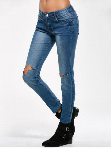 Cheap Low Rise Knee Ripped Jeans - M BLUE Mobile