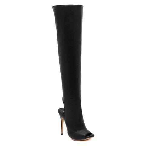 Peep Toe PU Leather Thigh Boots - Black - 40