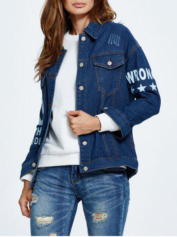 New Letter Graphic Button Up Jean Jacket with Sleeves