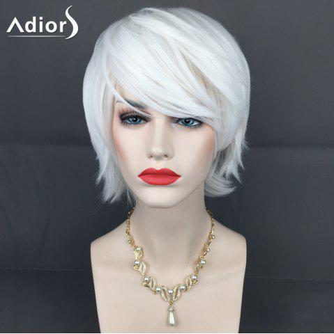 Shops Adiors Short Inclined Bang Layered Straight Synthetic Wig WHITE