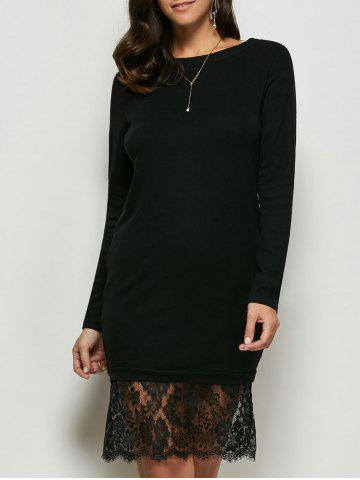 Affordable Lace Panel Long Sleeve Pullover Dress BLACK M