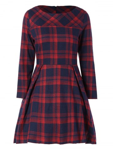 Sale Tartan Plaid Flare Dress