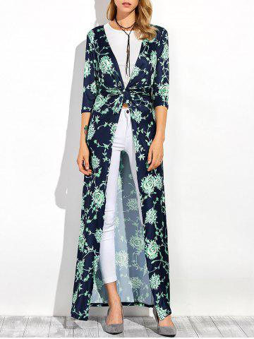 Three Quarter Sleeves Longline Floral Print Duster Coat - Purplish Blue - S