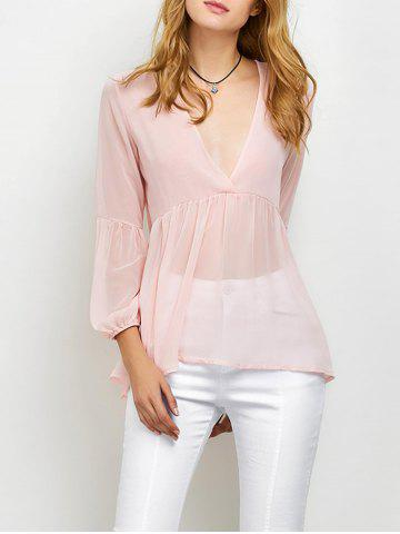Discount High-Low Loose Chiffon Blouse