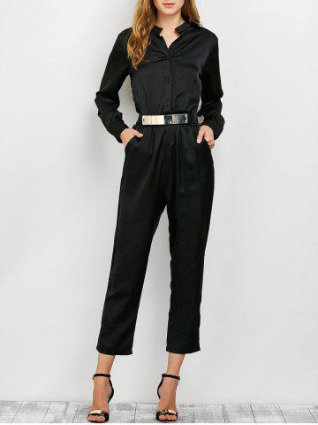 New Long Sleeve Shirt Jumpsuit BLACK XL
