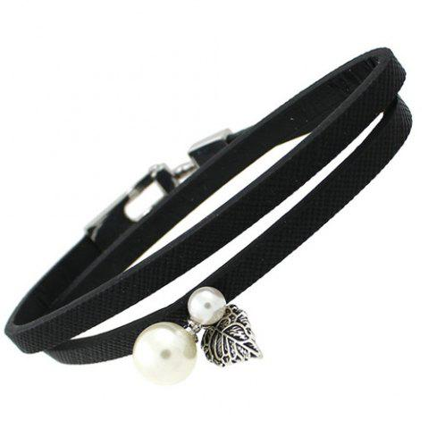 Trendy Artificial Leather Leaf Pearl Bracelet BLACK