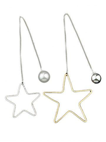 Fashion Asymmetric Star Beads Earrings SILVER AND GOLDEN