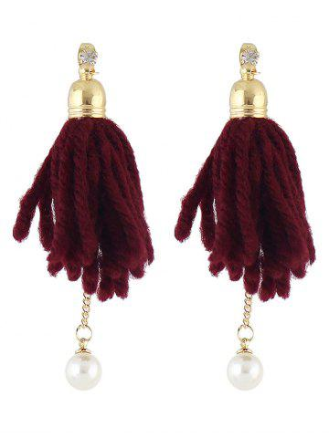 Outfits Artificial Pearl Rhinestone Tassel Earrings