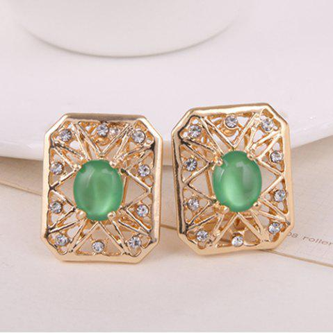 Hot Rhinestone Artificial Opal Necklace and Earrings - GREEN  Mobile