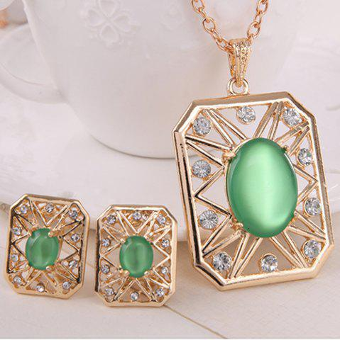 Trendy Rhinestone Artificial Opal Necklace and Earrings - GREEN  Mobile