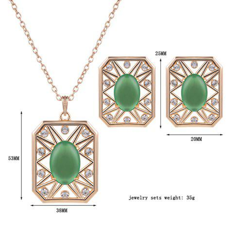 Fashion Rhinestone Artificial Opal Necklace and Earrings - GREEN  Mobile