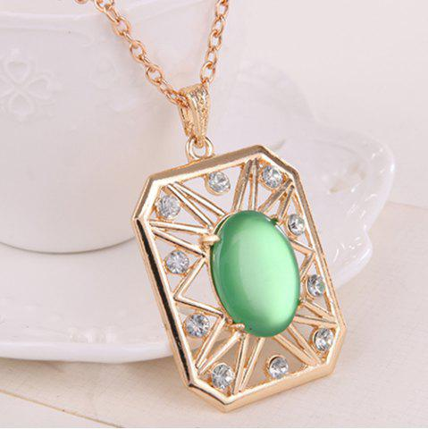 Shop Rhinestone Artificial Opal Necklace and Earrings - GREEN  Mobile