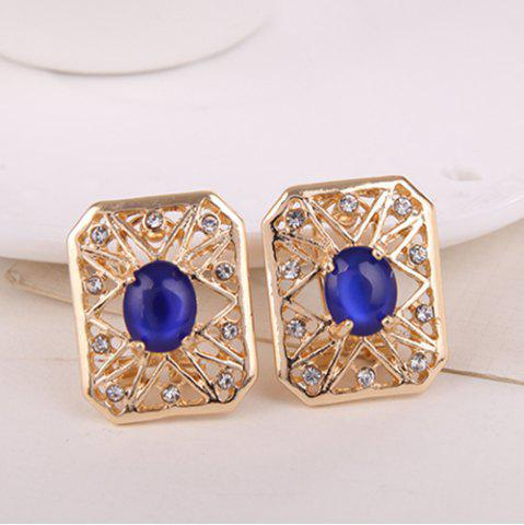 Fashion Rhinestone Artificial Opal Necklace and Earrings - BLUE  Mobile