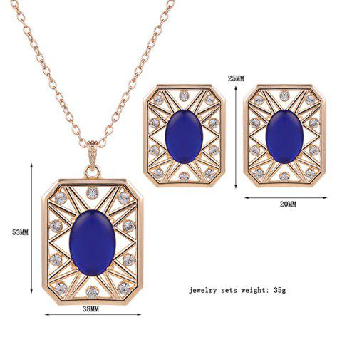Discount Rhinestone Artificial Opal Necklace and Earrings - BLUE  Mobile