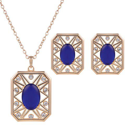 Trendy Rhinestone Artificial Opal Necklace and Earrings - BLUE  Mobile