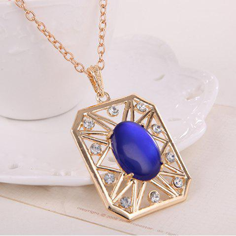 Hot Rhinestone Artificial Opal Necklace and Earrings - BLUE  Mobile