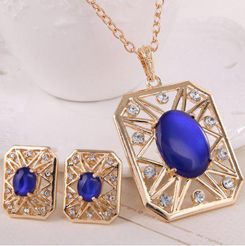 Shop Rhinestone Artificial Opal Necklace and Earrings - BLUE  Mobile